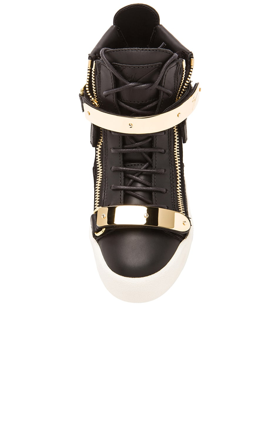 Image 4 of Giuseppe Zanotti Leather Bucked Sneakers in Black