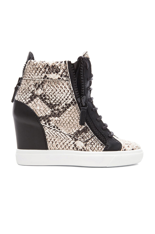 Image 1 of Giuseppe Zanotti Loren Leather Wedge Sneakers in Snake