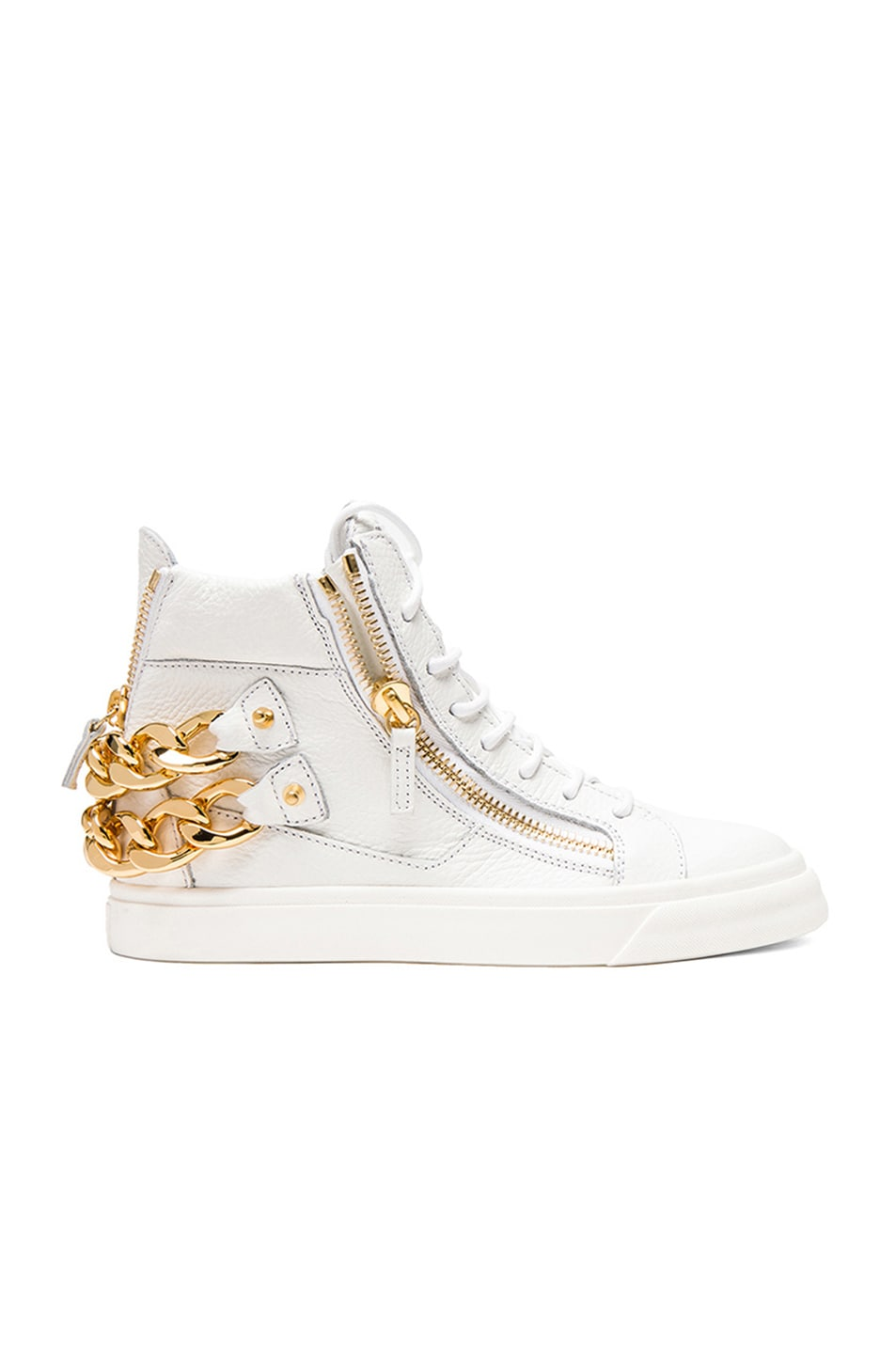 Image 1 of Giuseppe Zanotti Chained Leather Sneakers in White