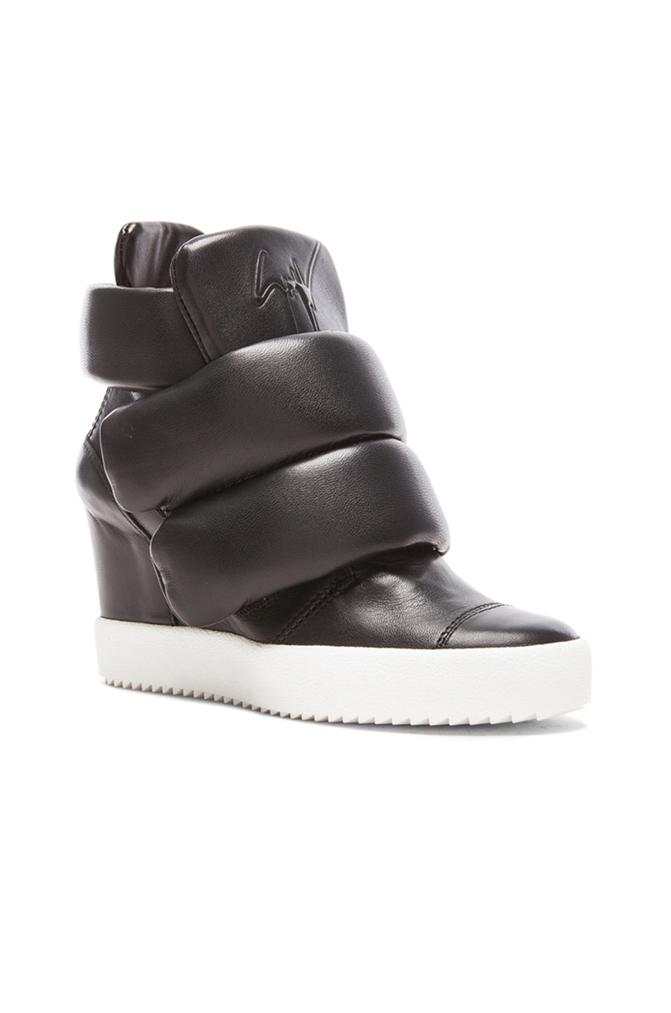 Image 2 of Giuseppe Zanotti x Kid Cudi Double Strap Wedged Leather Sneakers in Black