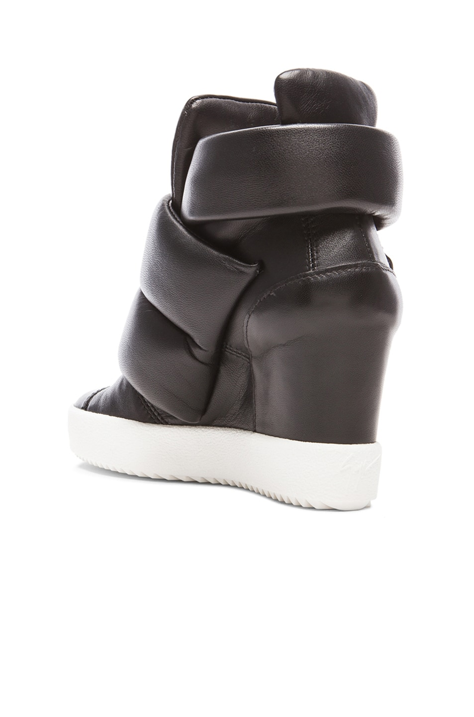 Image 3 of Giuseppe Zanotti x Kid Cudi Double Strap Wedged Leather Sneakers in Black