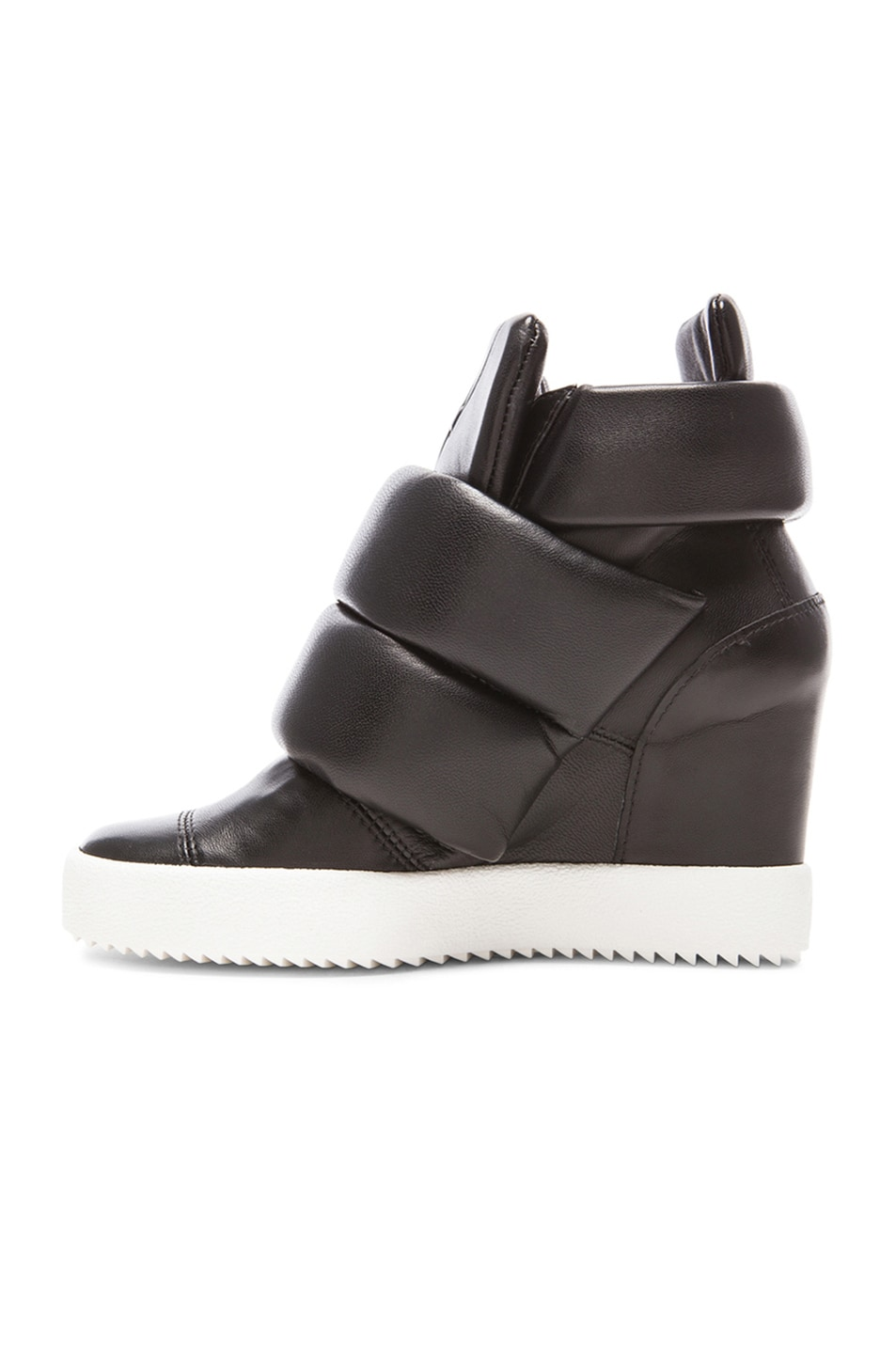 Image 5 of Giuseppe Zanotti x Kid Cudi Double Strap Wedged Leather Sneakers in Black