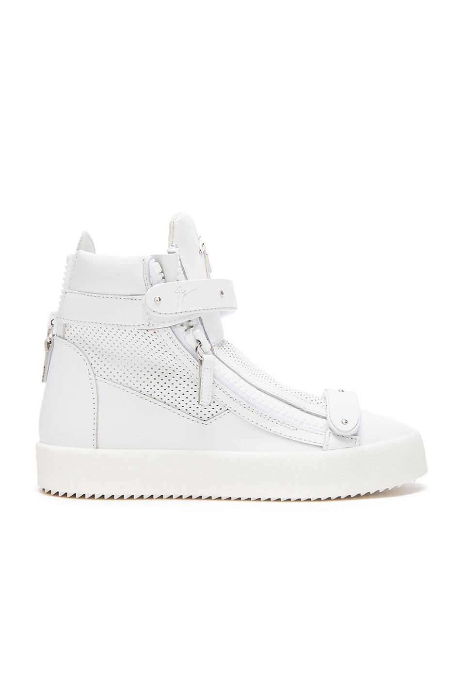 Image 1 of Giuseppe Zanotti Perforated Leather High Top Sneakers in White