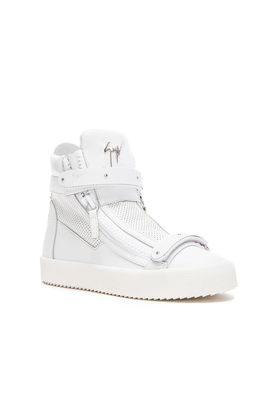 Image 2 of Giuseppe Zanotti Perforated Leather High Top Sneakers in White