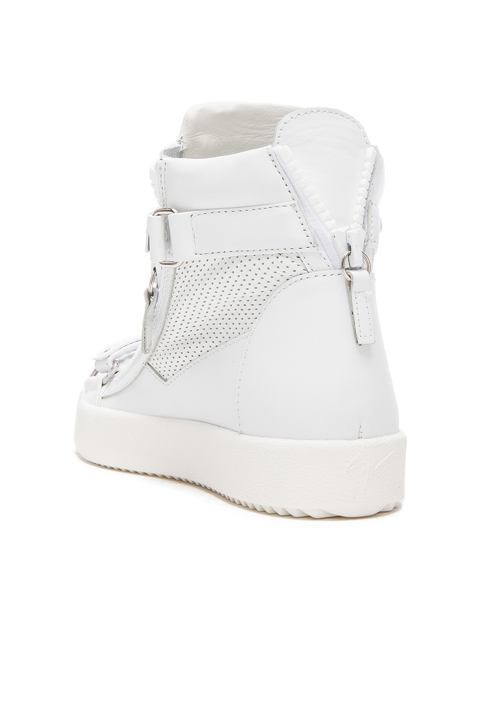 Image 3 of Giuseppe Zanotti Perforated Leather High Top Sneakers in White