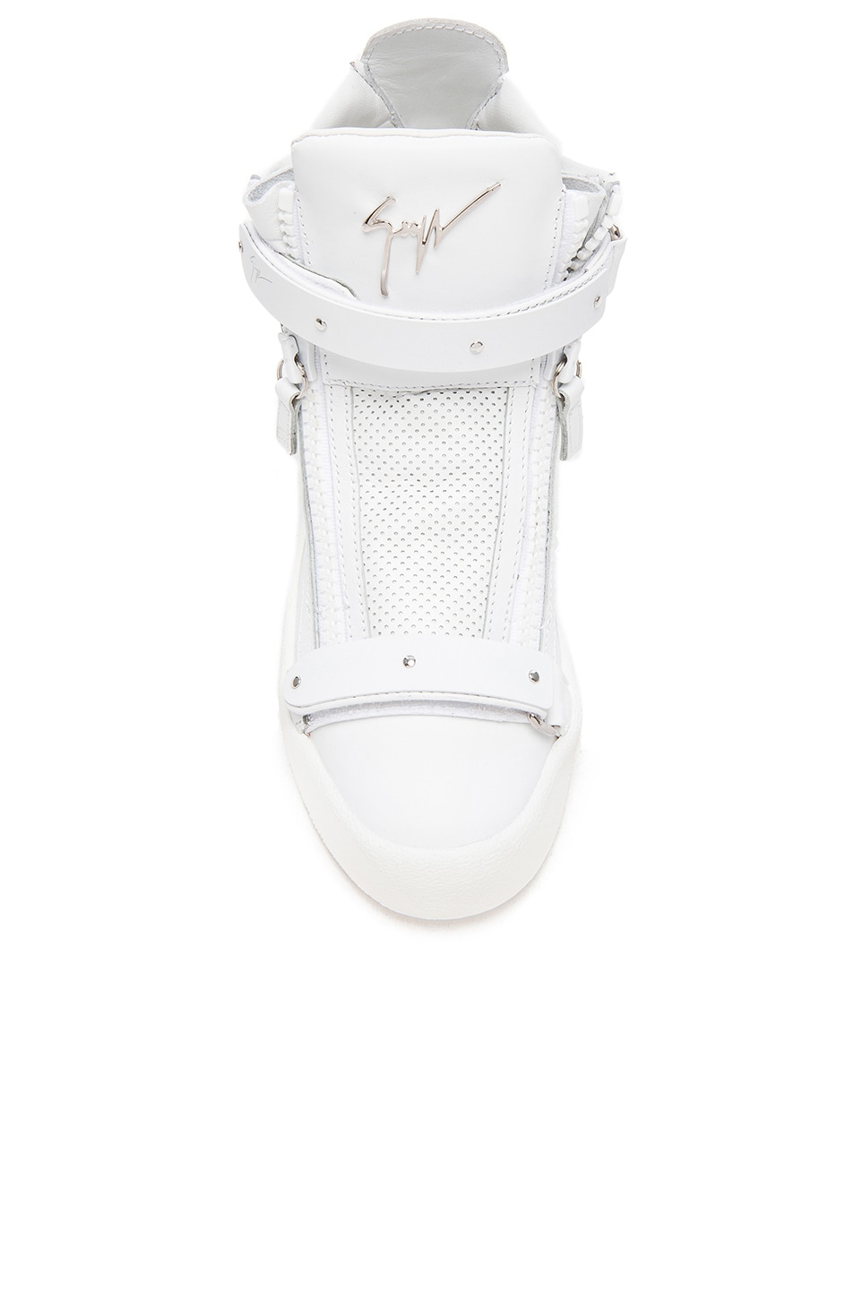 Image 4 of Giuseppe Zanotti Perforated Leather High Top Sneakers in White