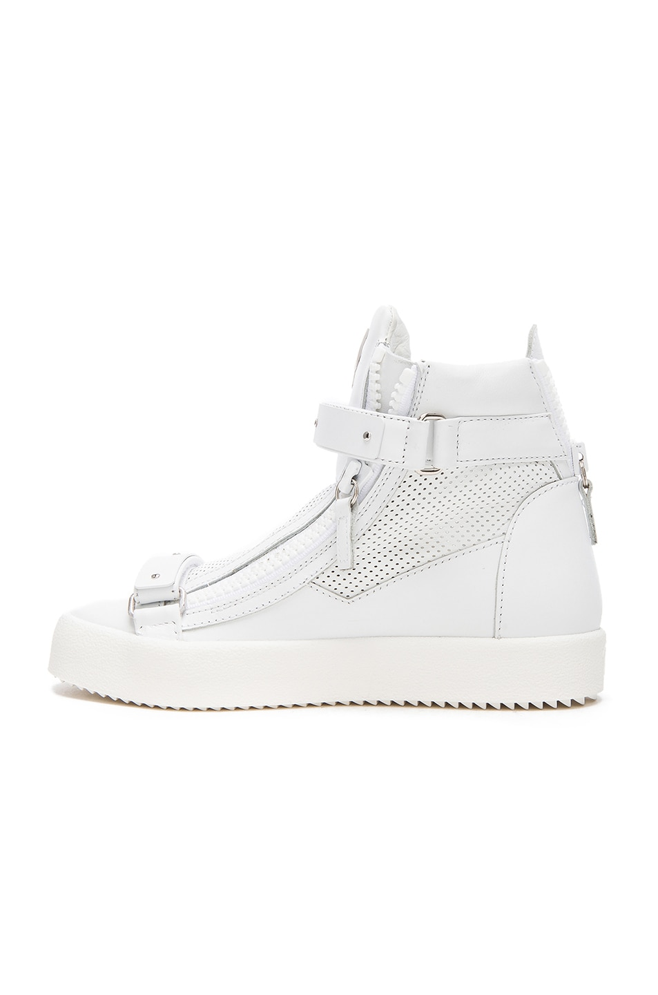 Image 5 of Giuseppe Zanotti Perforated Leather High Top Sneakers in White
