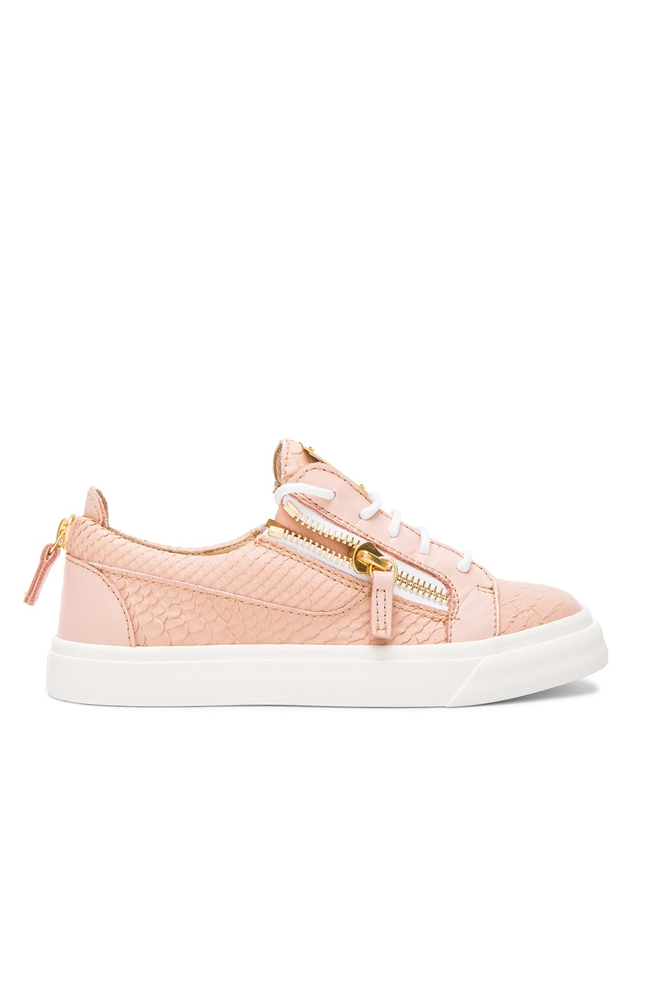 Image 1 of Giuseppe Zanotti Low Top Snakeskin Embossed Leather Sneakers in Pink