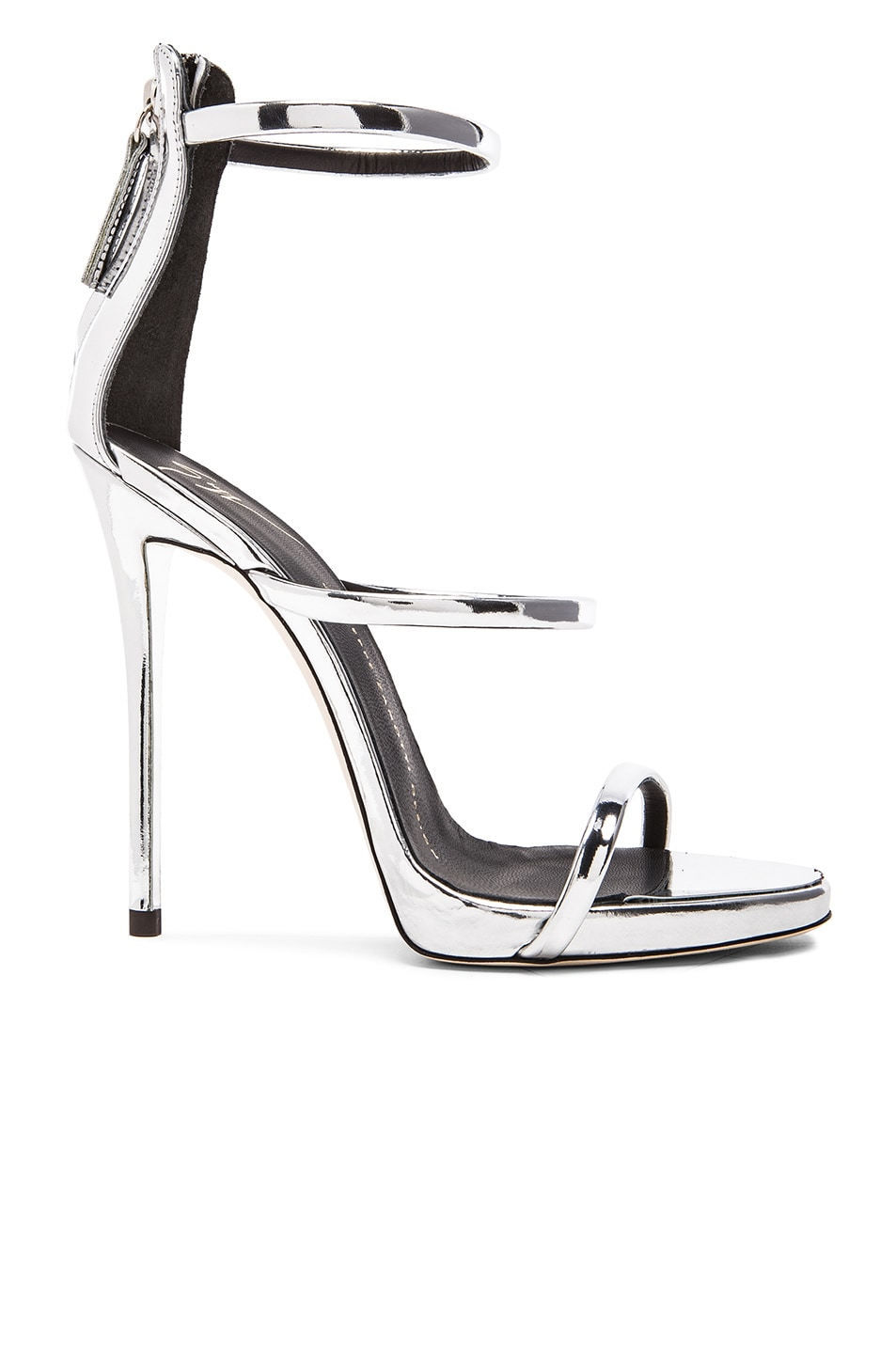 f53952cedf3 Image 1 of Giuseppe Zanotti Strappy Leather Heels in Silver