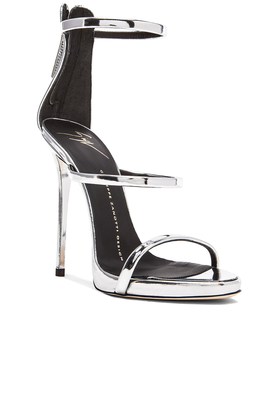 Image 2 of Giuseppe Zanotti Strappy Leather Heels in Silver