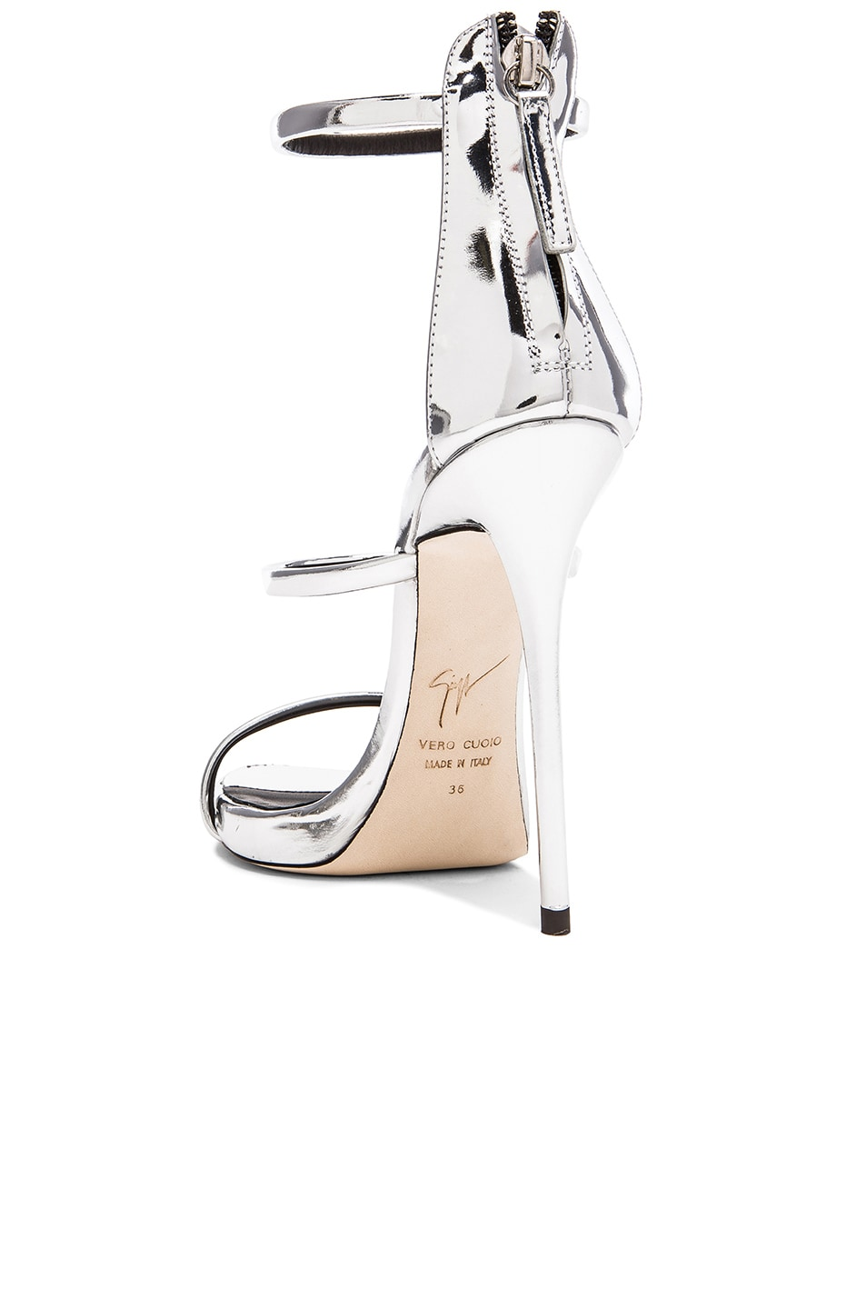 Image 3 of Giuseppe Zanotti Strappy Leather Heels in Silver