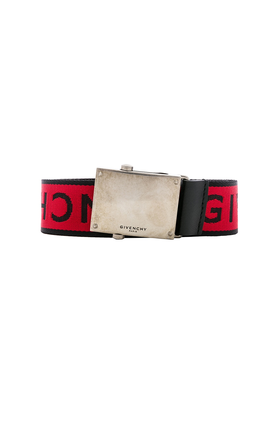 Image 1 of Givenchy Plate Buckle Belt in Black & Red
