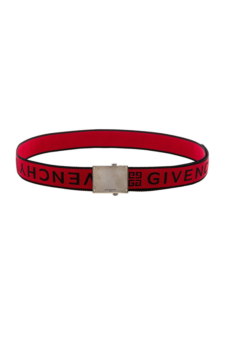 Image 2 of Givenchy Plate Buckle Belt in Black & Red