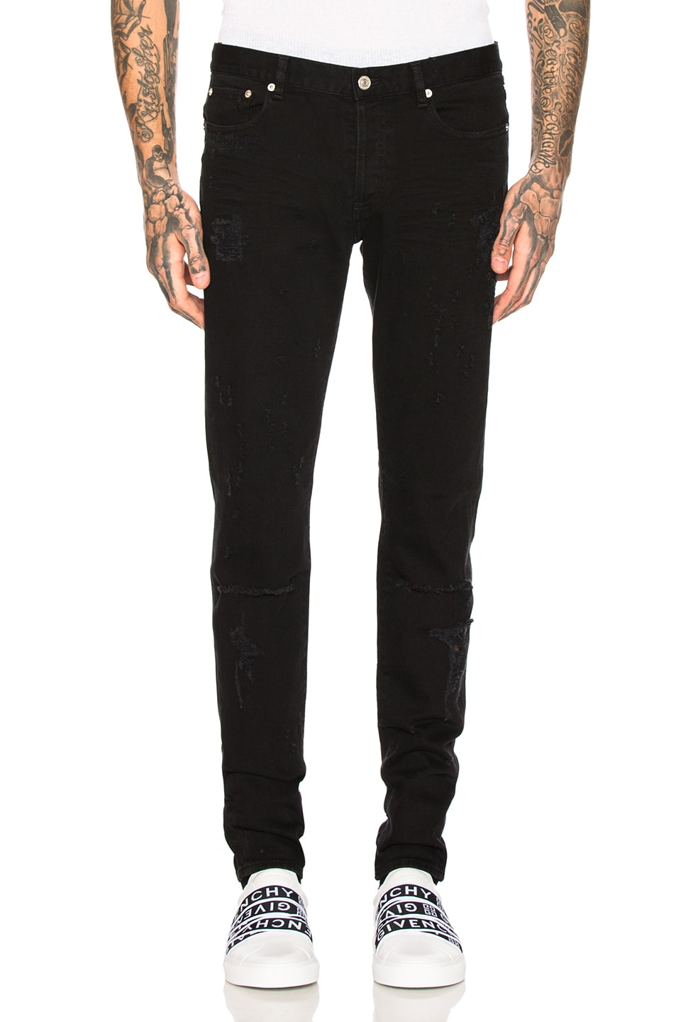 Image 1 of Givenchy Distressed Jeans in Black