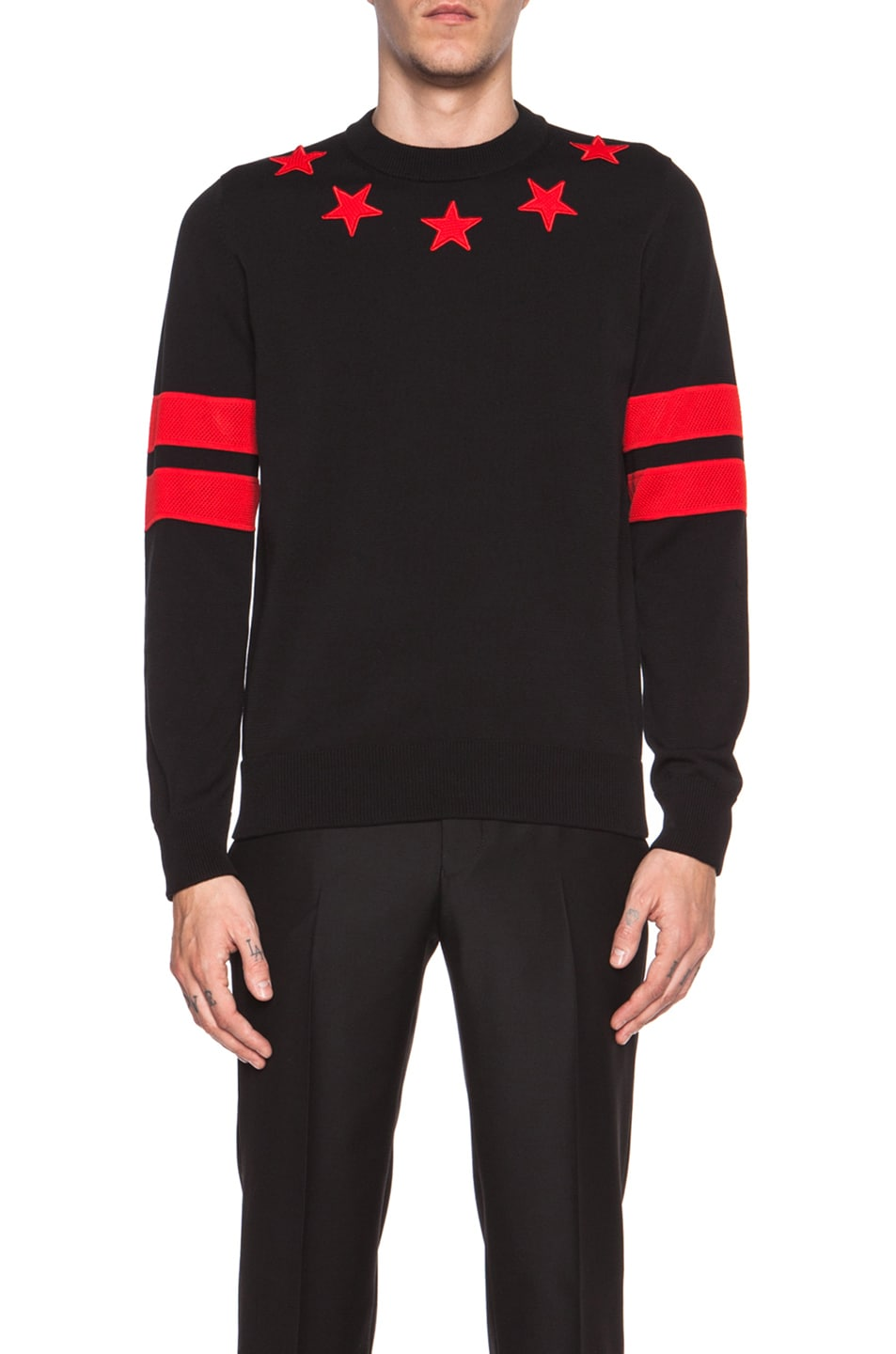 Givenchy Roundneck Cotton Sweater with Red Star and Stripe Elbow ...