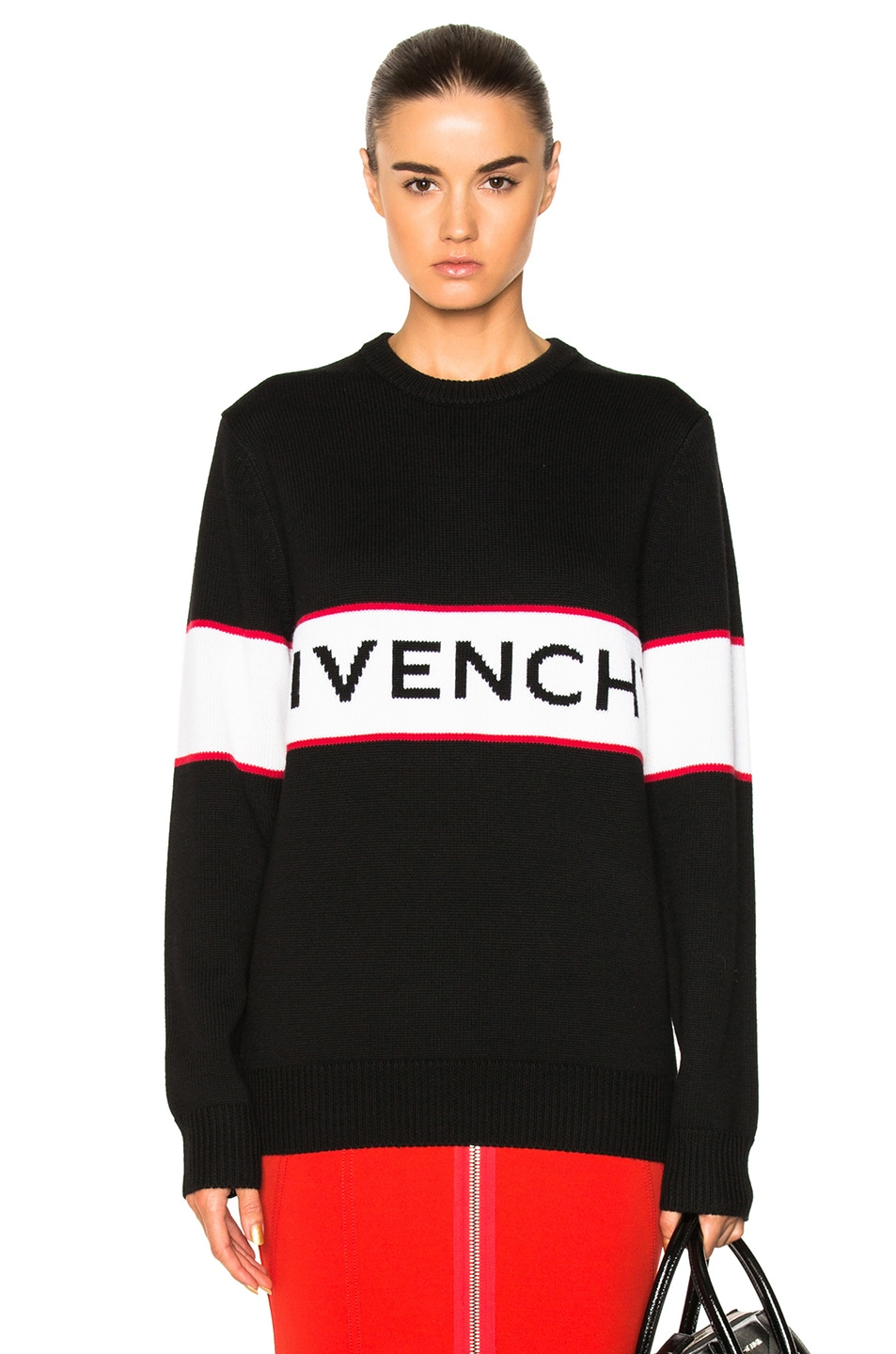 537bc306d8ab3 Image 1 of Givenchy Logo Knit Sweater in Black
