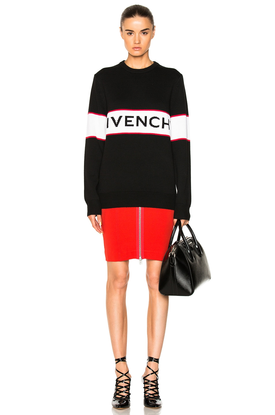 Image 4 of Givenchy Logo Knit Sweater in Black
