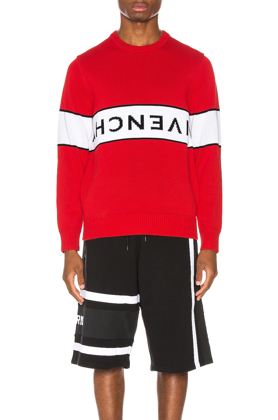 Image 1 of Givenchy Upside Down Logo Sweater in Red & White