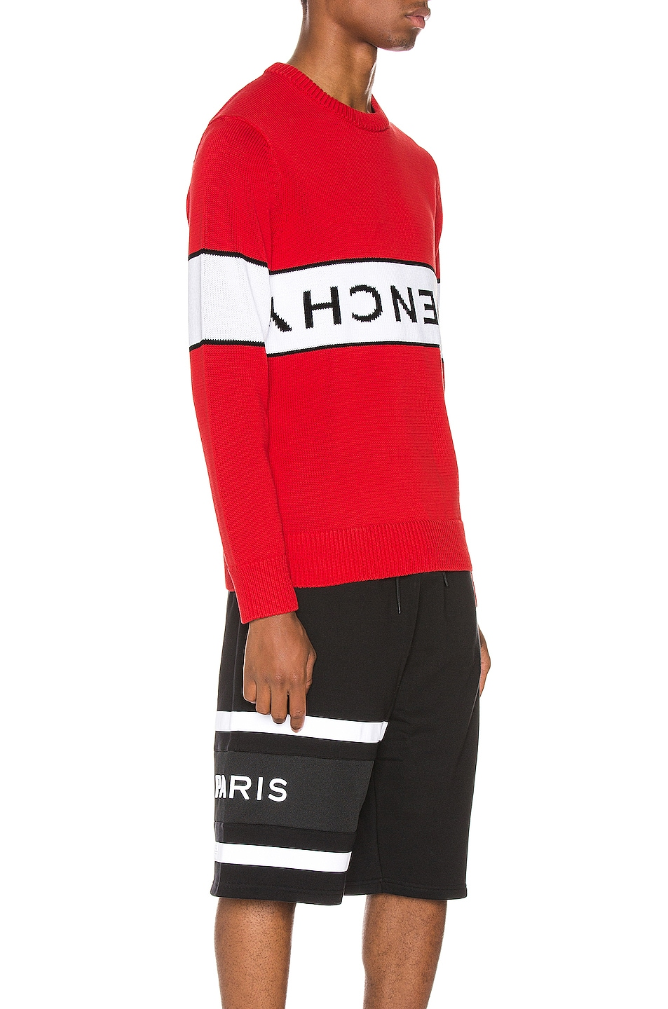 Image 2 of Givenchy Upside Down Logo Sweater in Red & White
