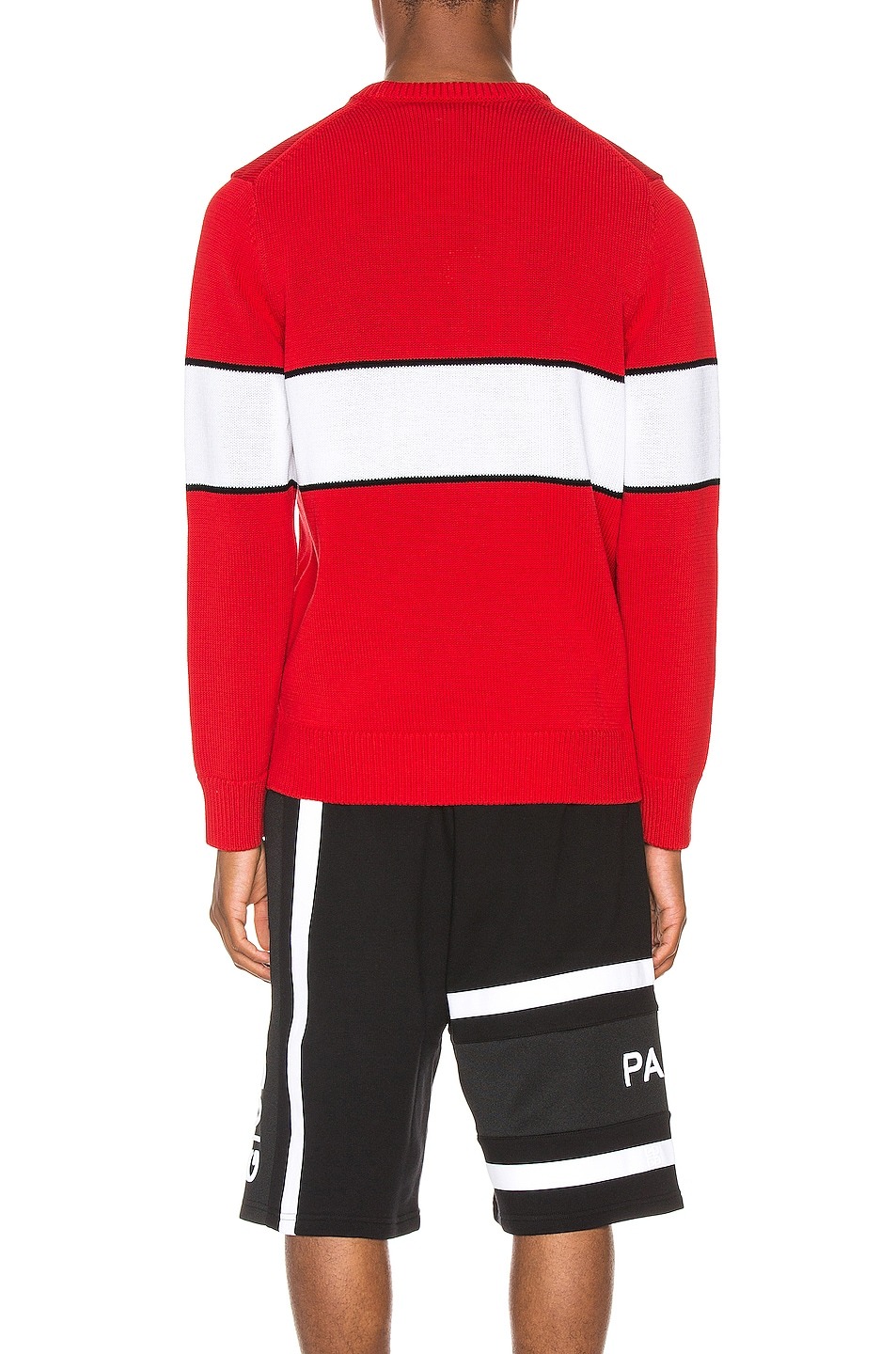 Image 3 of Givenchy Upside Down Logo Sweater in Red & White
