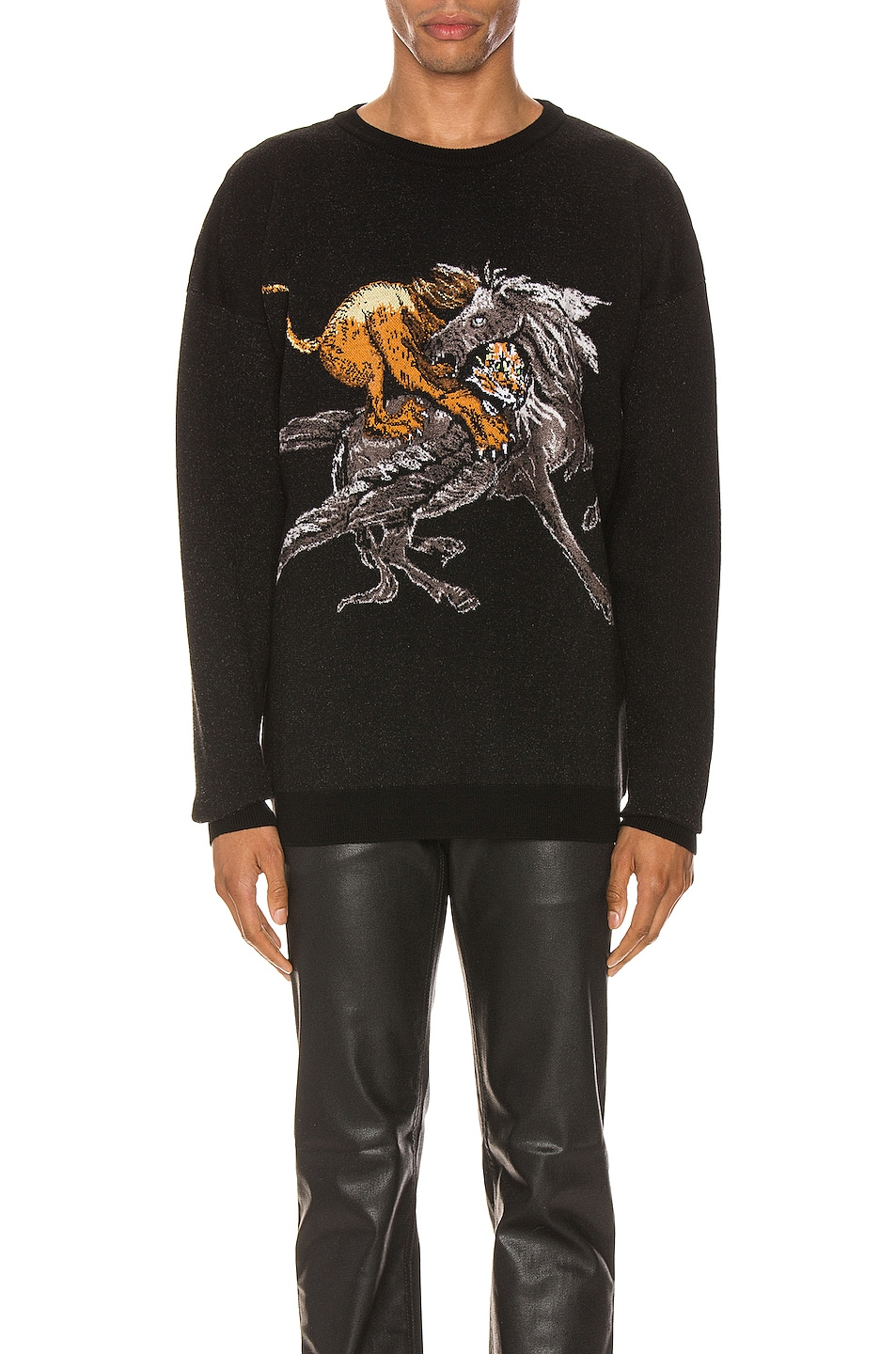 Image 1 of Givenchy Crew Neck Sweater in Black & Grey