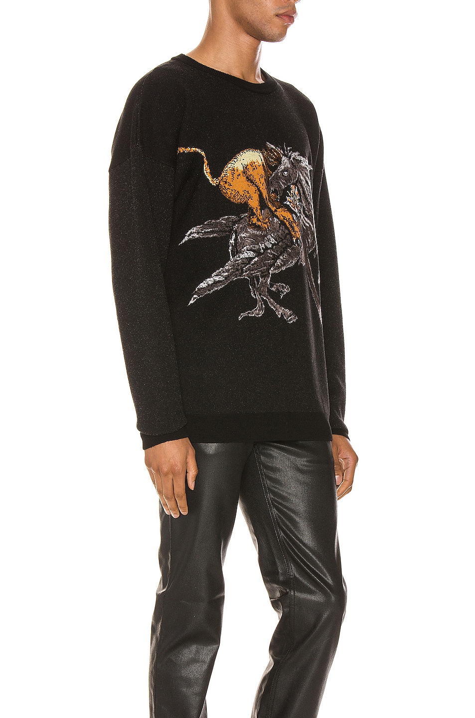 Image 2 of Givenchy Crew Neck Sweater in Black & Grey