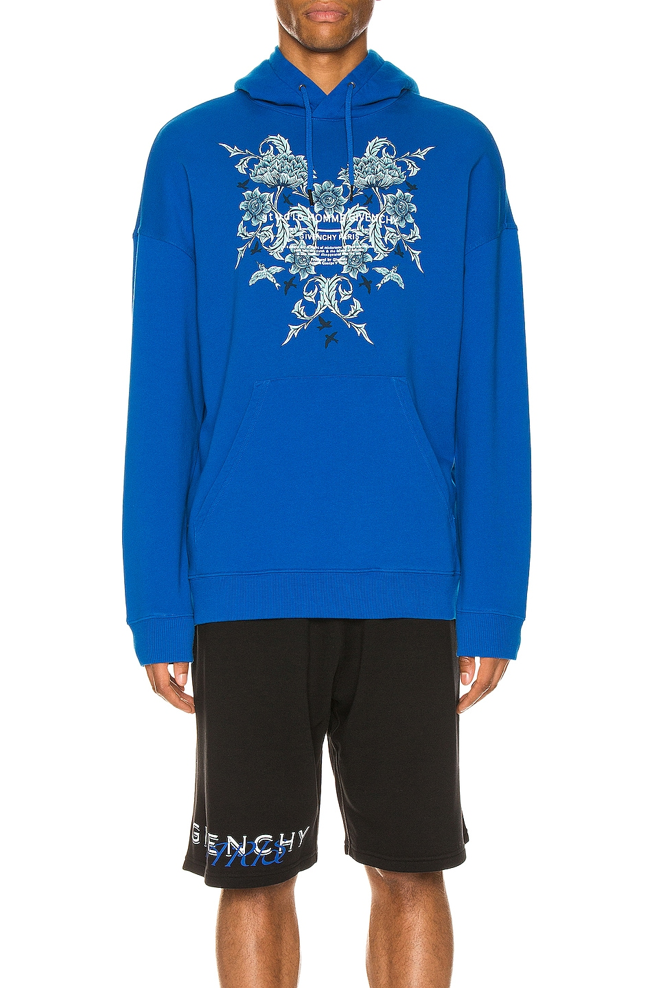 Image 1 of Givenchy Blue Floral Hoodie in Ocean Blue