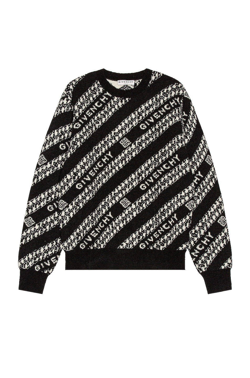 Image 1 of Givenchy Givenchy Chain Crew Neck Sweater in Black & White