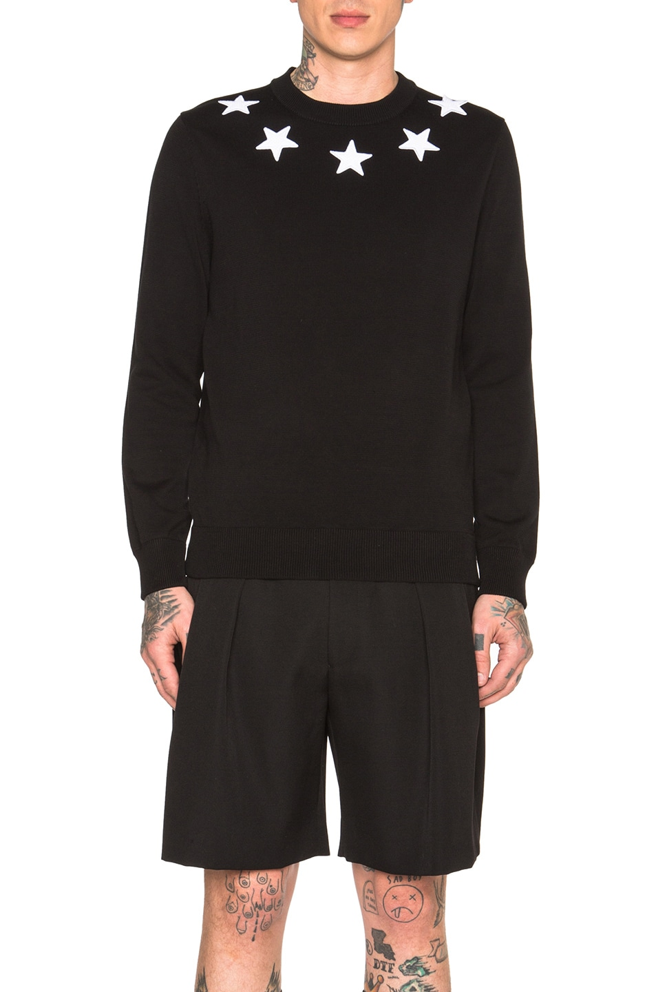 d25a810f79d1c Image 1 of Givenchy Star Collar Crew Neck Jumper in Black