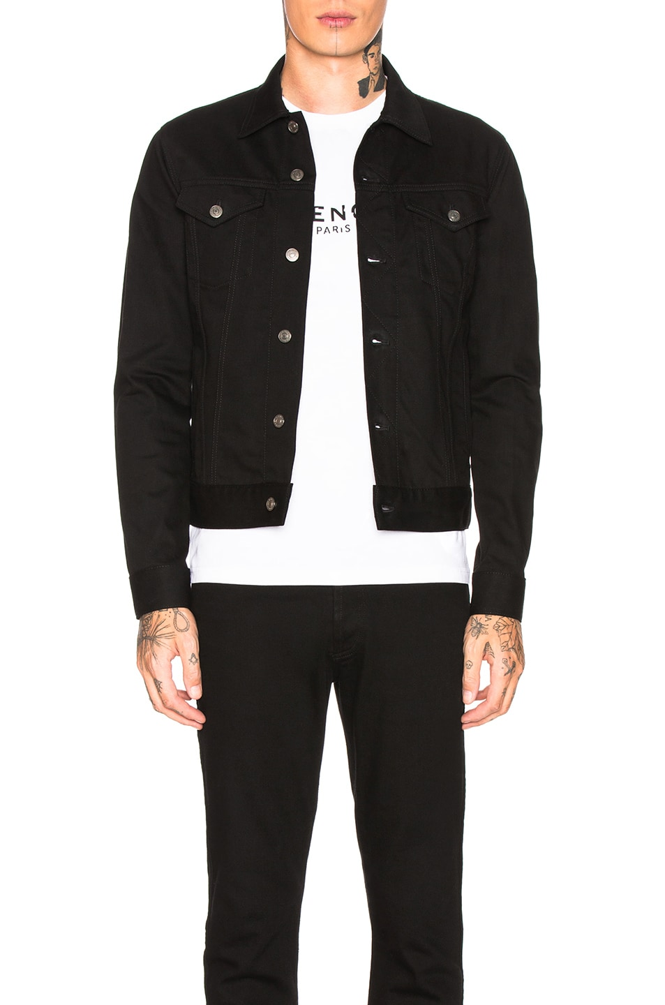 Image 1 of Givenchy Taping Denim Jacket in Black