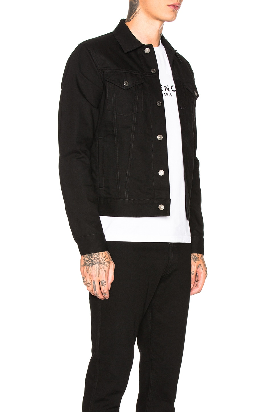 Image 2 of Givenchy Taping Denim Jacket in Black