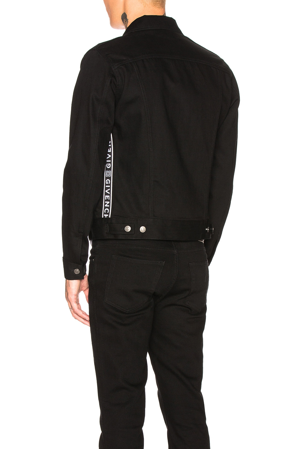 Image 4 of Givenchy Taping Denim Jacket in Black