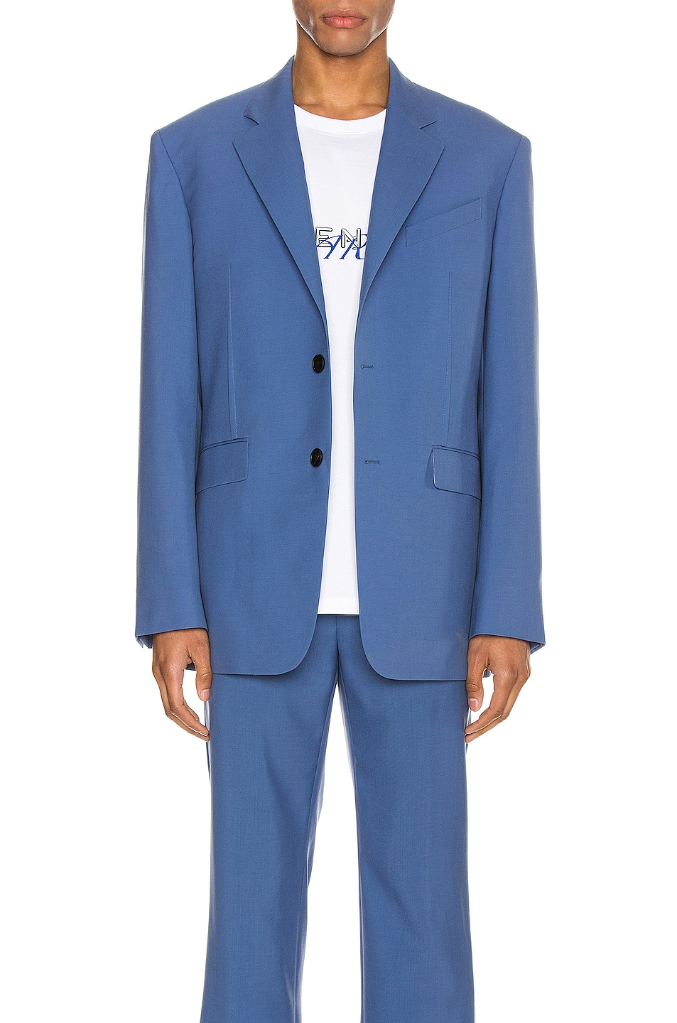 Image 1 of Givenchy Notch Lapel Jacket in Steel Blue