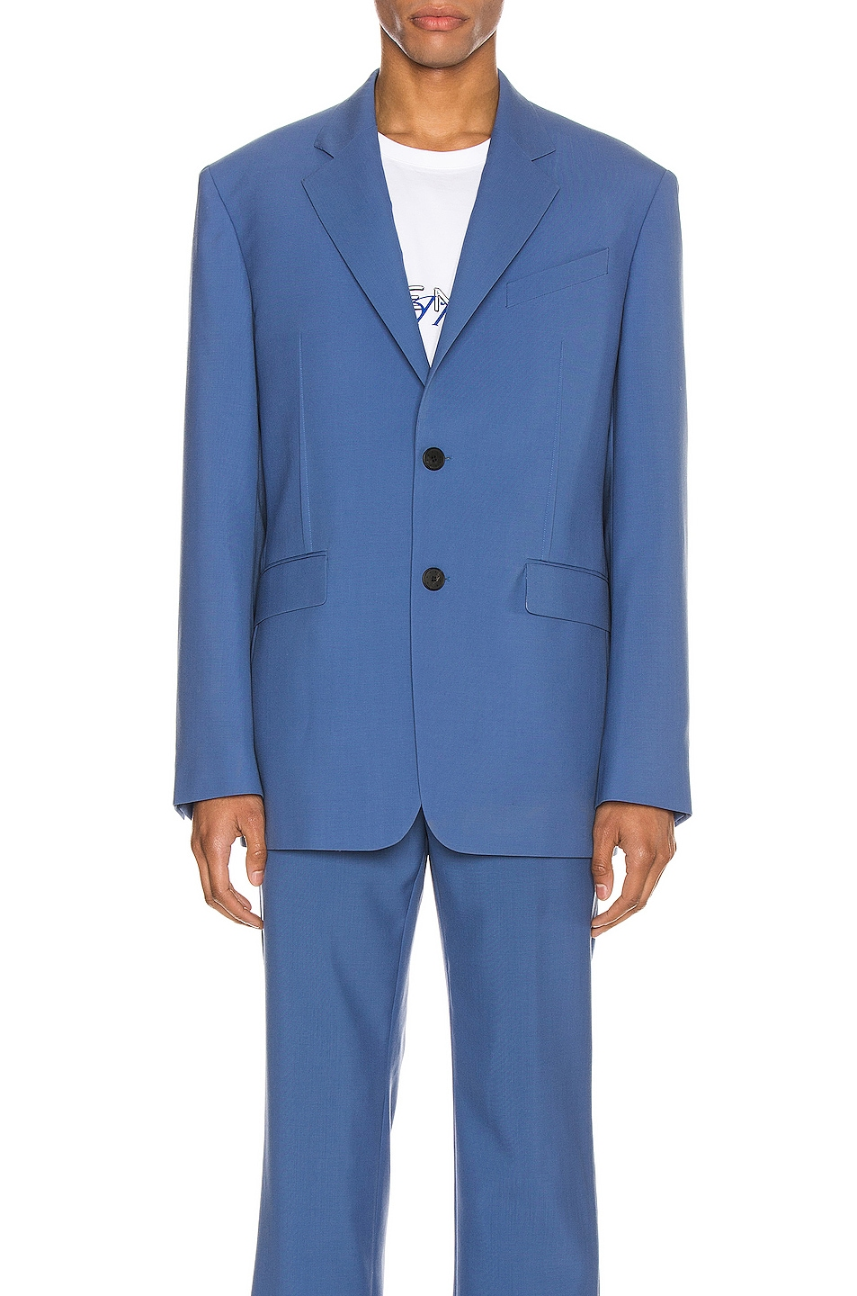 Image 2 of Givenchy Notch Lapel Jacket in Steel Blue