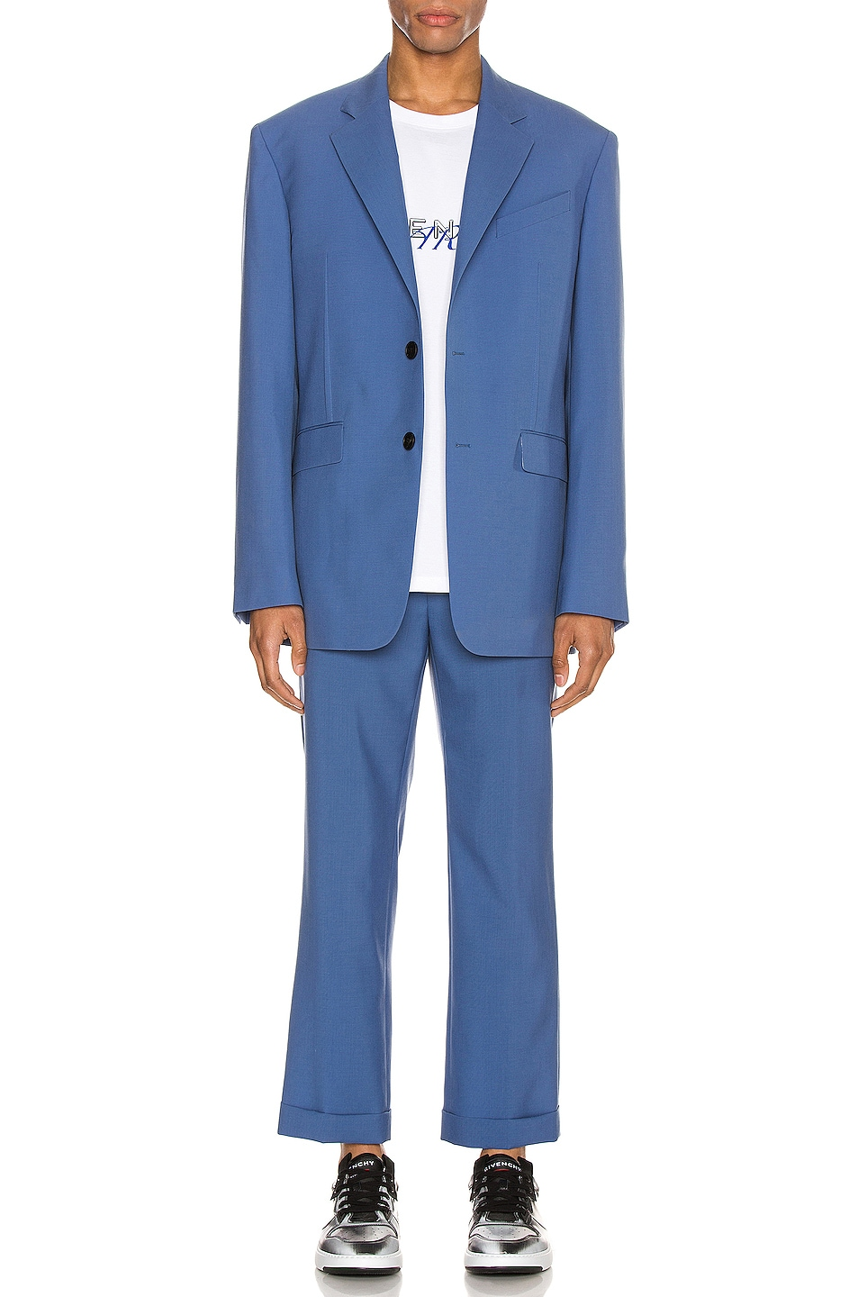Image 5 of Givenchy Notch Lapel Jacket in Steel Blue