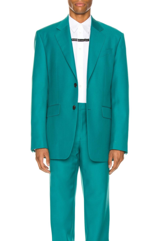 Image 1 of Givenchy Notch Lapel Oversize Jacket in Turquoise