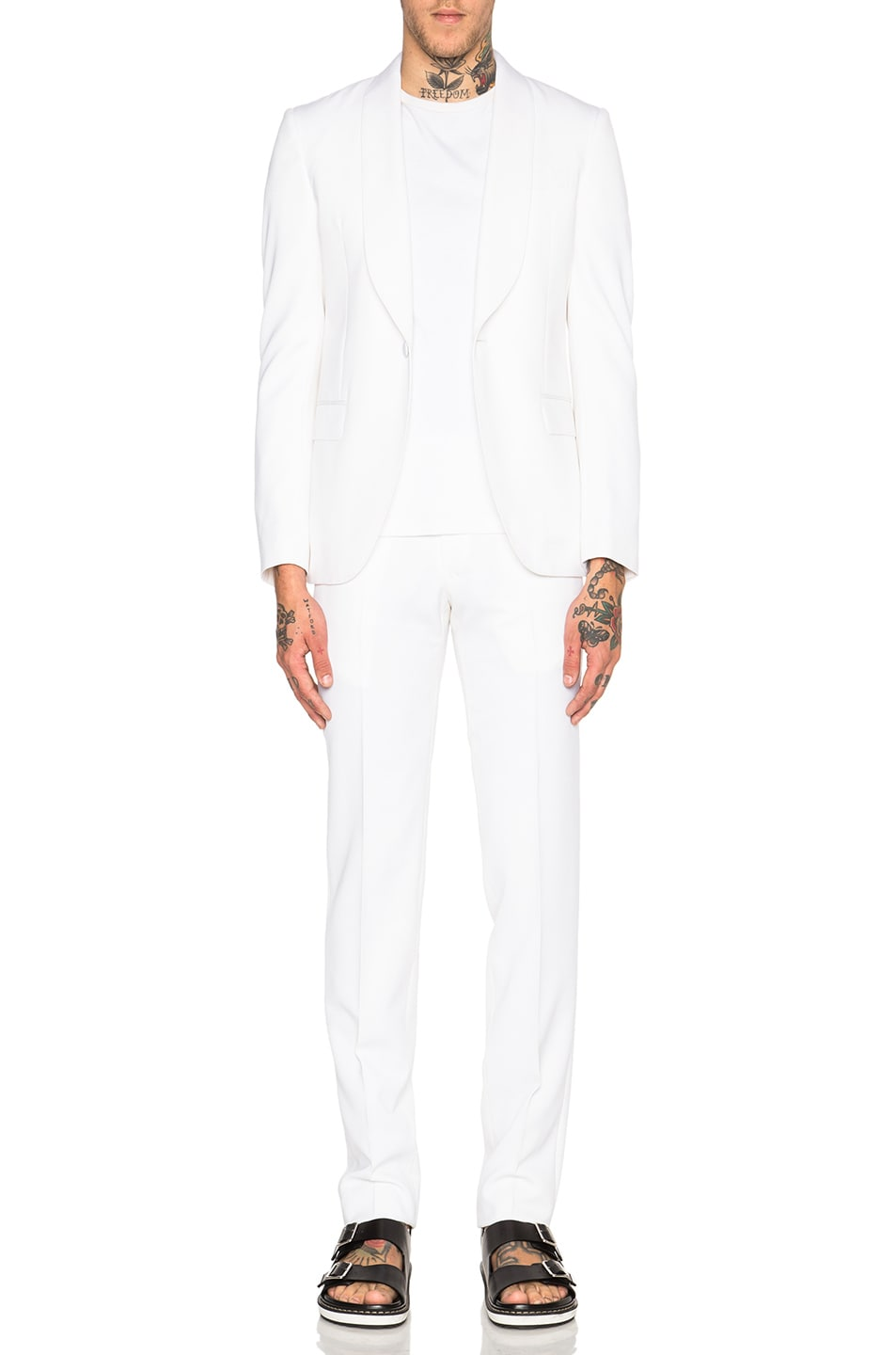 Image 1 of Givenchy Full Canvas Shawl Collar Suit in White