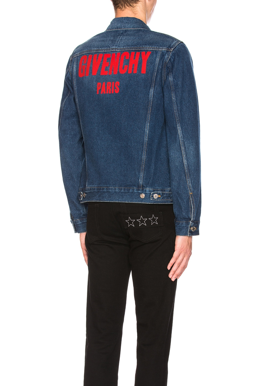 Image 1 of Givenchy Logo Denim Jacket in Blue