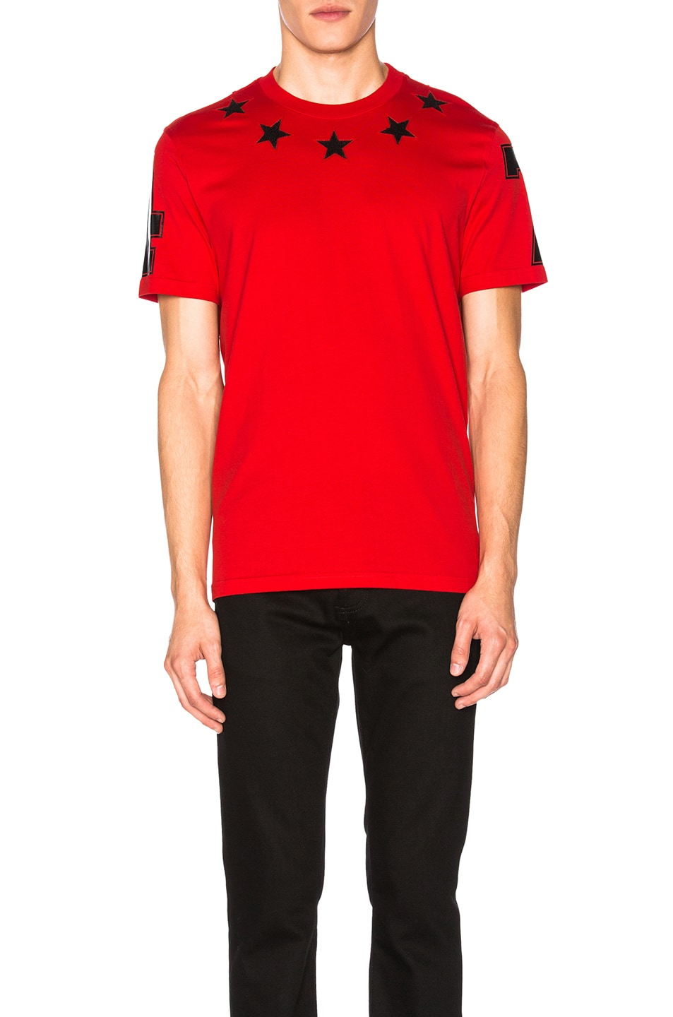 Image 1 of Givenchy Star Collar Tee in Red ebd25942e7c7