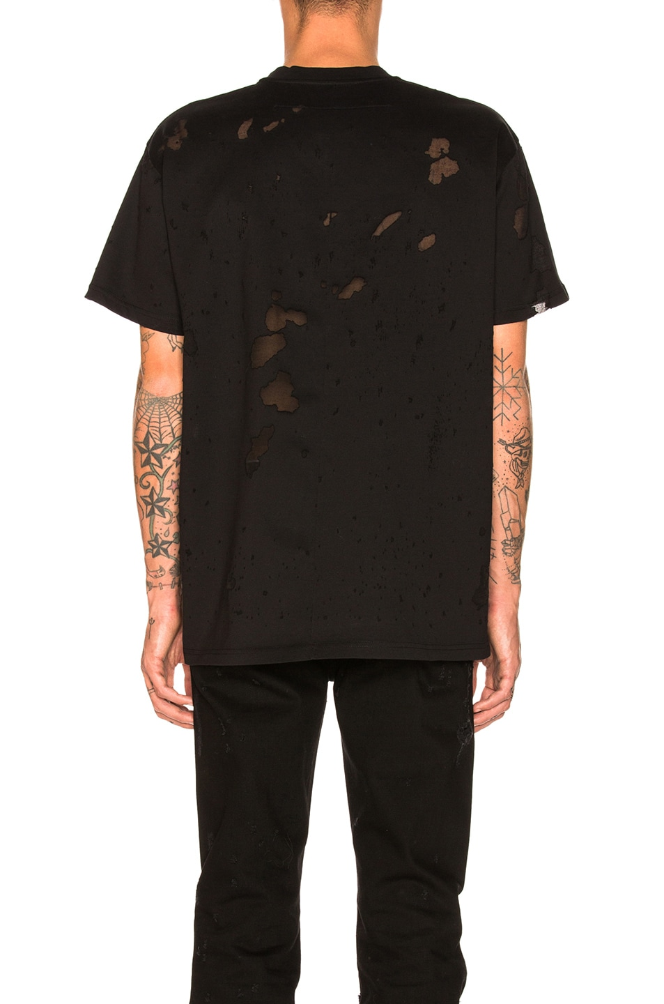 Image 3 of Givenchy Distressed Logo T-Shirt in Black