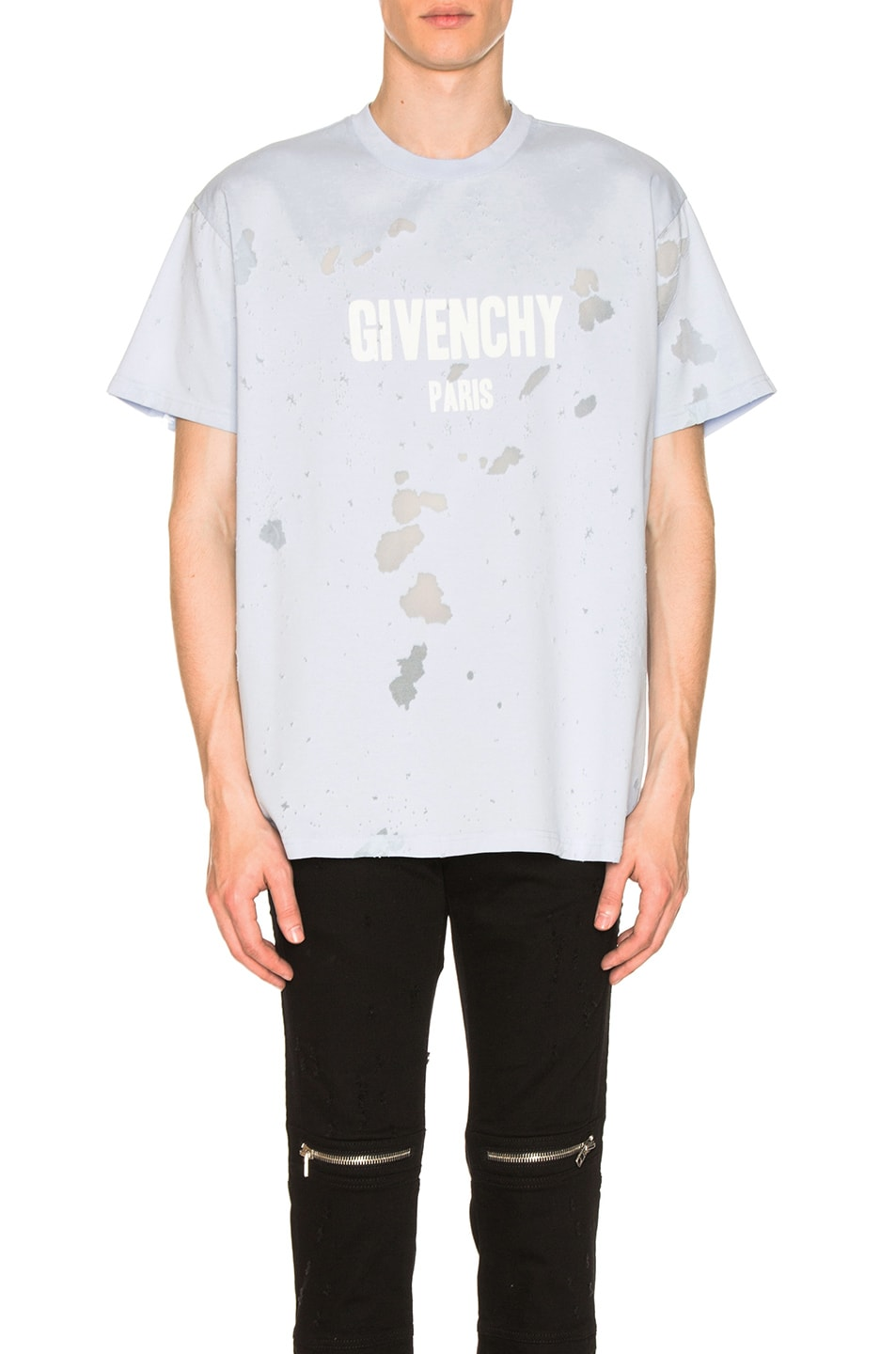 70d251f38a Image 1 of Givenchy Distressed Logo T-Shirt in Baby Blue