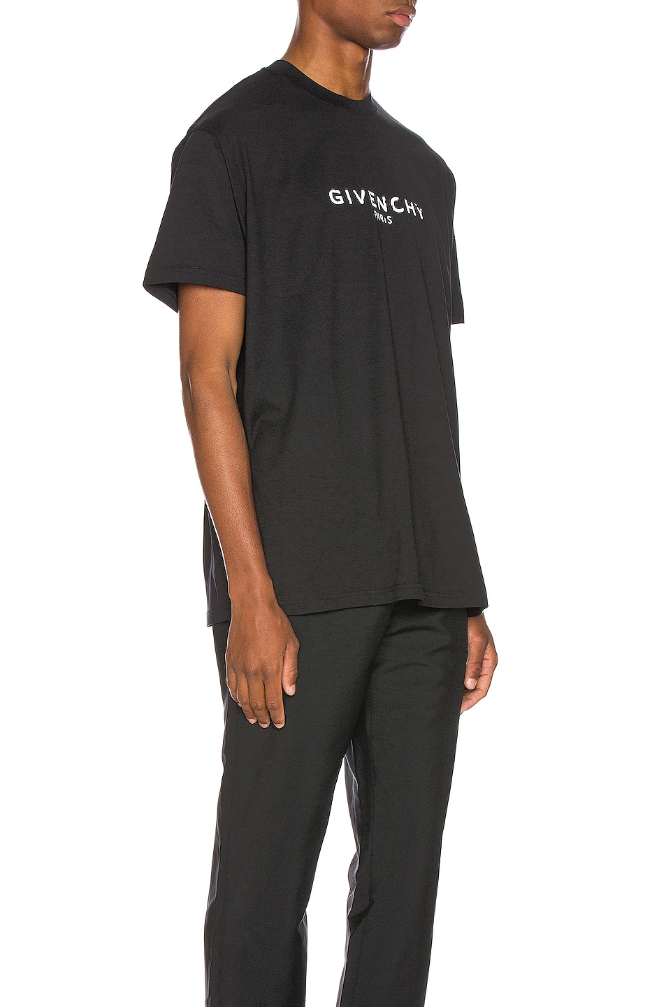 Image 2 of Givenchy Distressed Logo Tee in Black