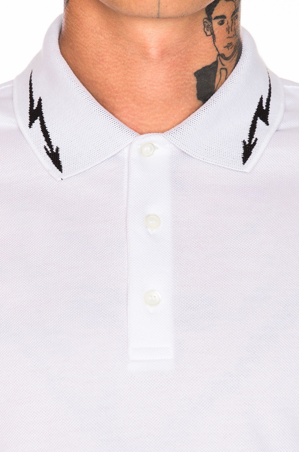Image 6 of Givenchy Lightning Bolt Polo in White & Black