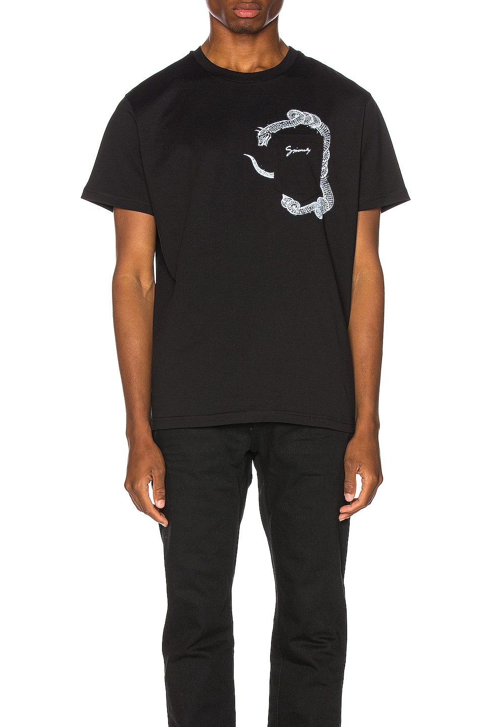 Image 1 of Givenchy Snake Pocket Tee in Black