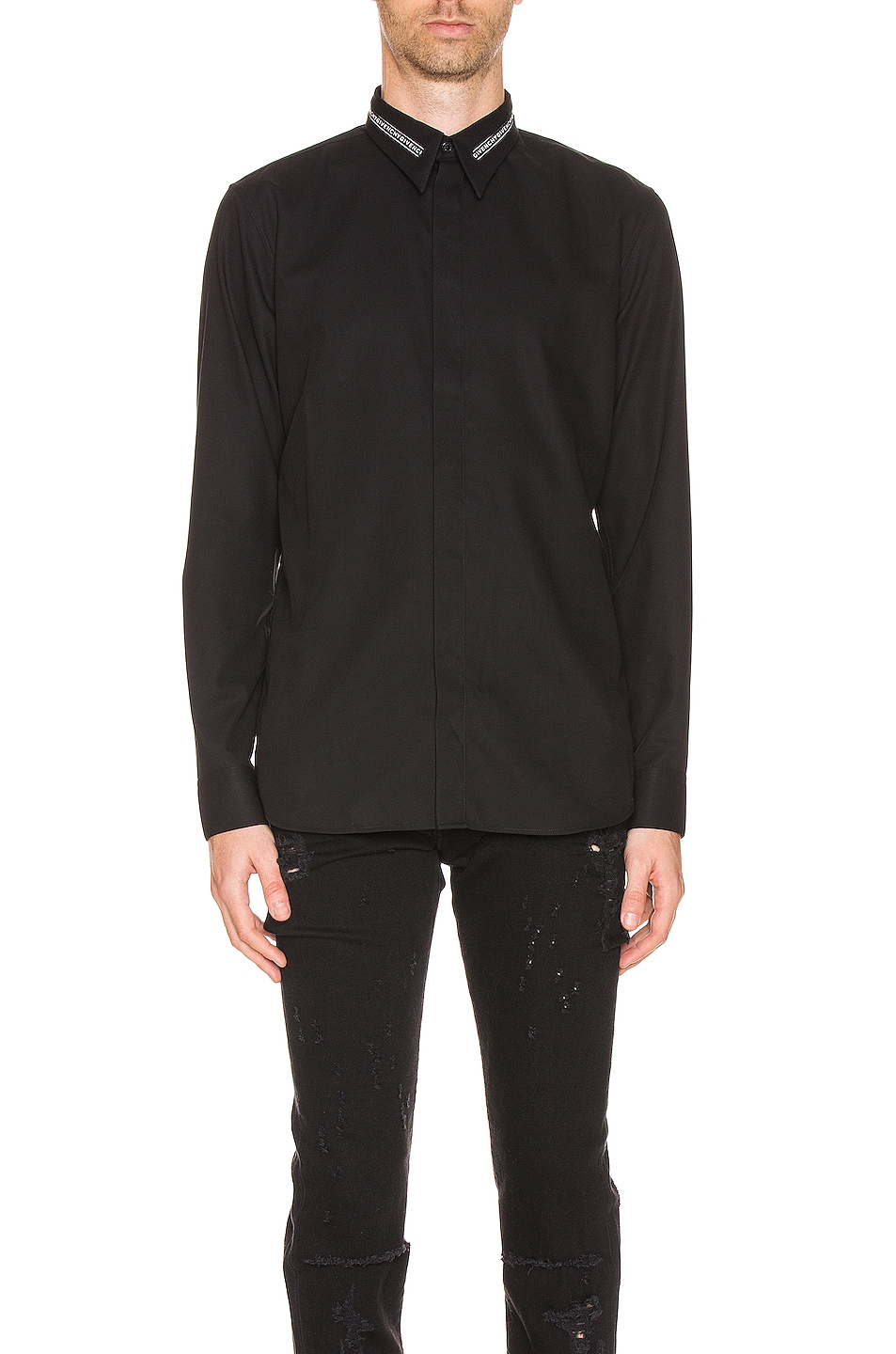 Image 1 of Givenchy Branded Collar Shirt in Black