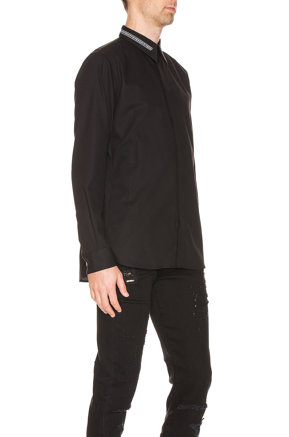 Image 2 of Givenchy Branded Collar Shirt in Black