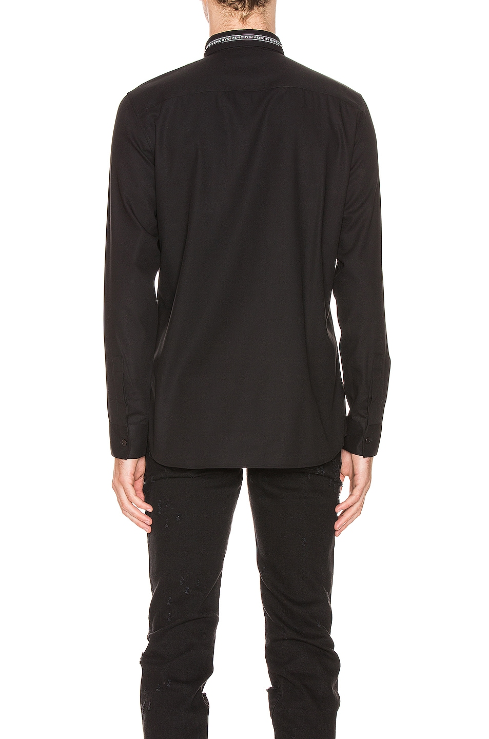Image 3 of Givenchy Branded Collar Shirt in Black