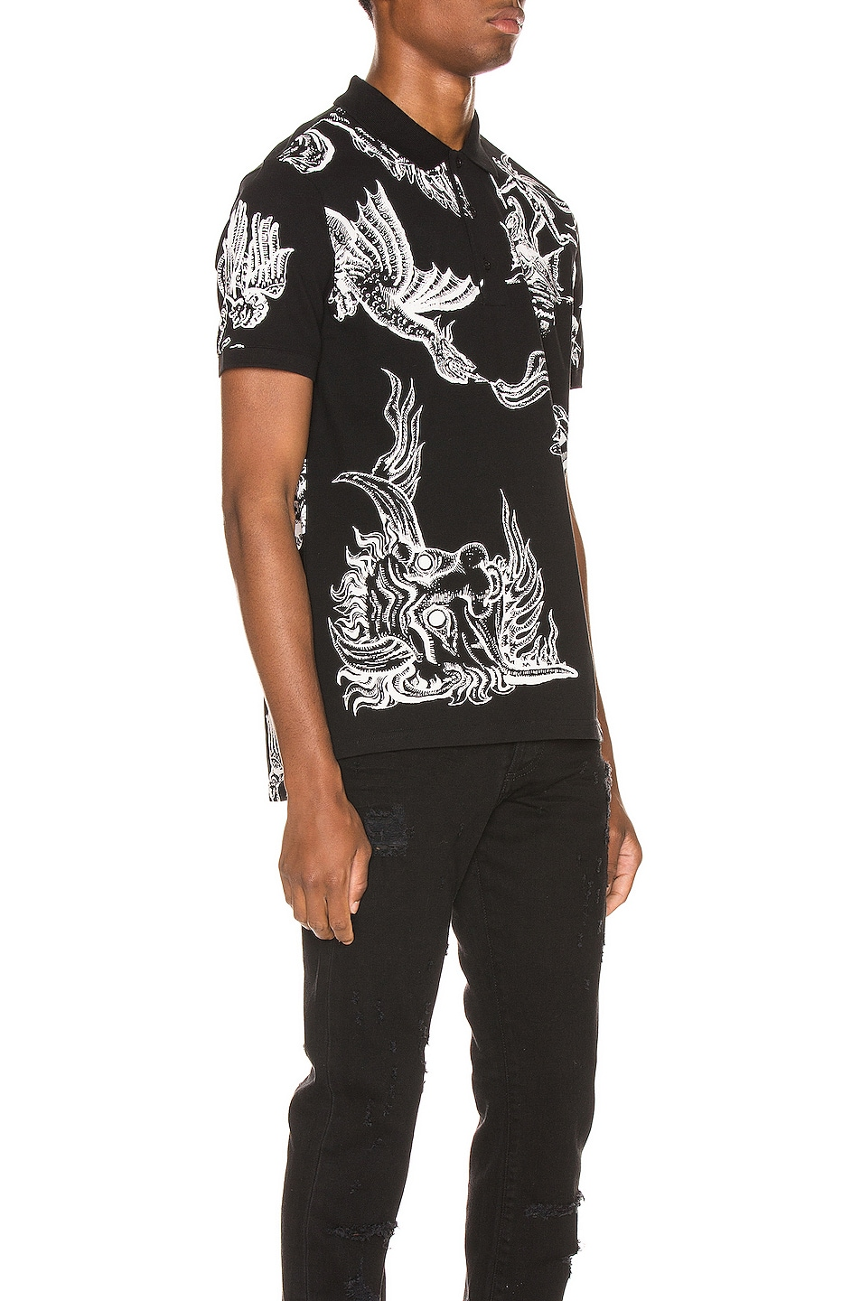 Image 2 of Givenchy Icarus Print Polo in Black