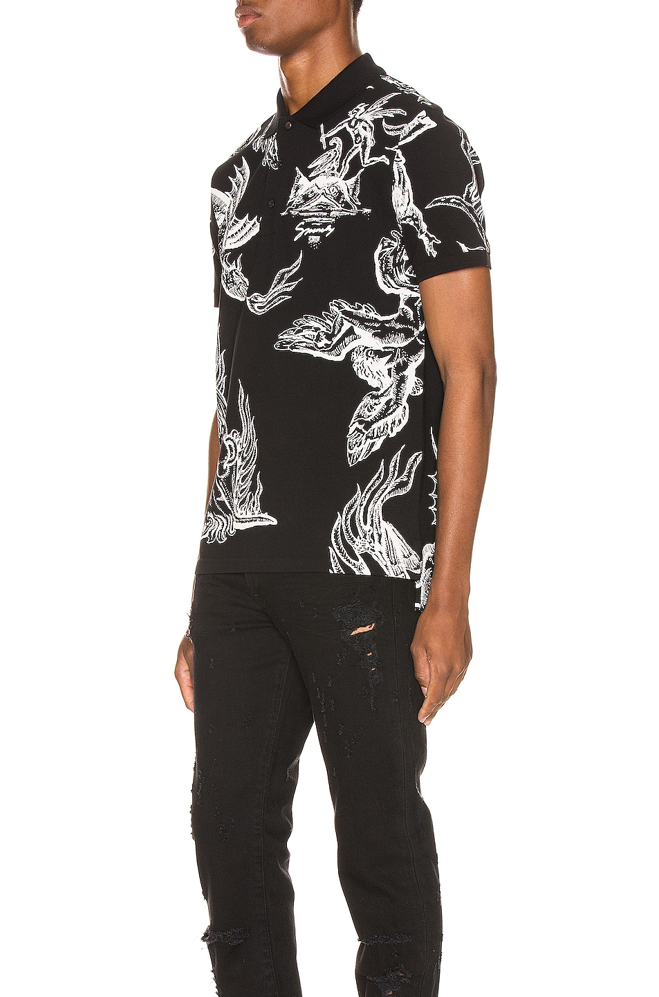 Image 3 of Givenchy Icarus Print Polo in Black