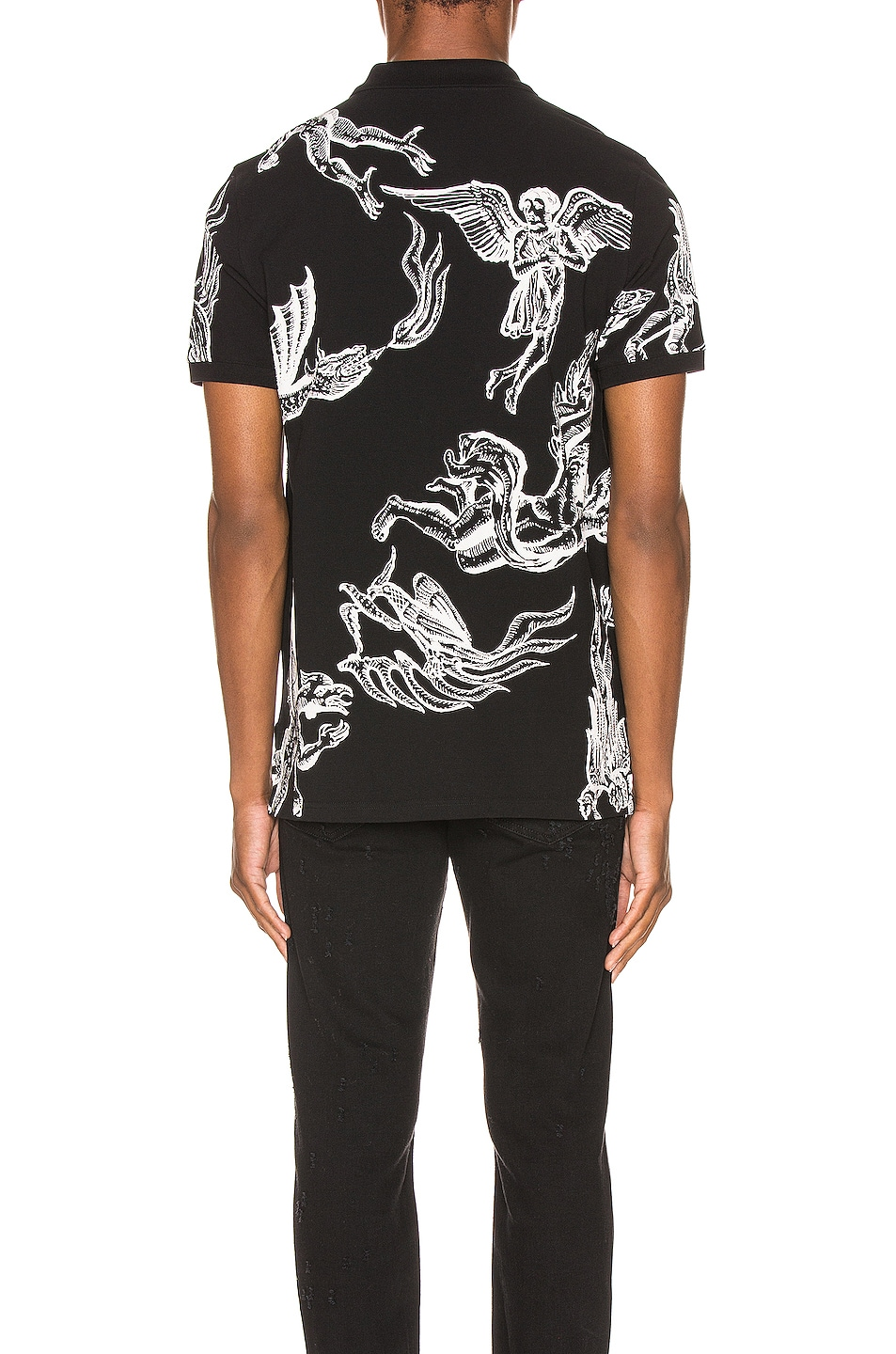 Image 4 of Givenchy Icarus Print Polo in Black